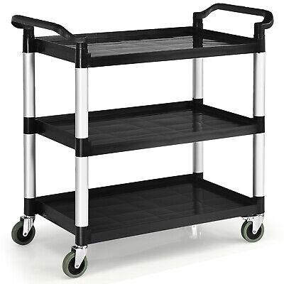 Costway 3-shelf Utility Service Cart Aluminum Frame 490lbs Capacity W Casters