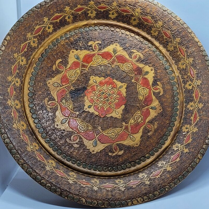 """Vintage Antique Hand Carved Wooden Plate 9"""" Abstract Mandala Pre-owned"""