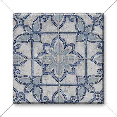 Blue Tile Design - Ceramic Tile - Moroccan Tile Design Vintage Colors Blue Grey Home Decor Tile