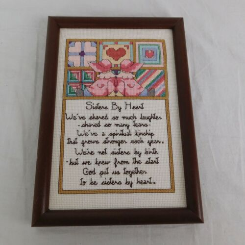 Cross Stitch Completed Sisters By Heart Friend Needlepoint Framed Picture 10 x 7