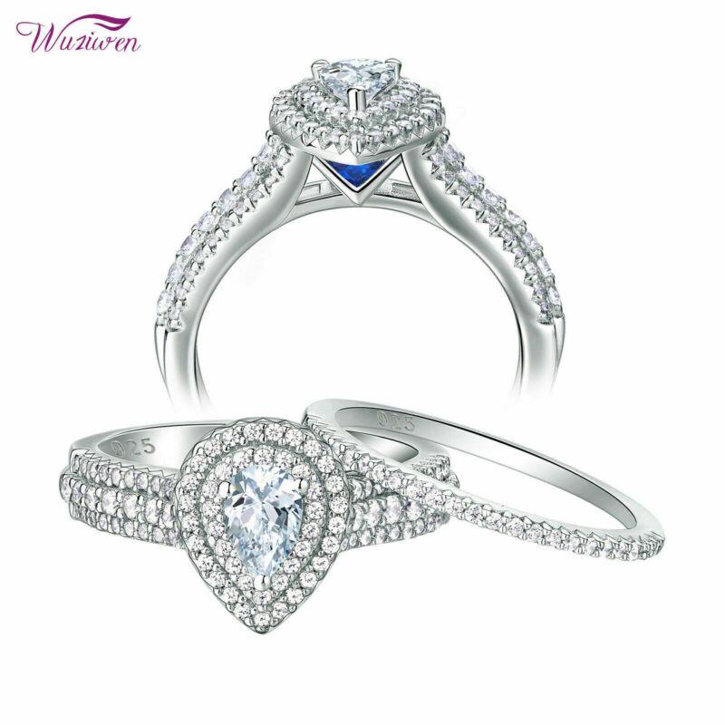 Wuziwen Wedding Rings Engagement Ring Set 2.1ct Pear Cz Blue 925 Sterling Silver