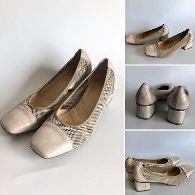 HISPANITAS Grey Taupe Mesh Metallic Court Shoes UK5 EU38 Spain Smart Work Comfy