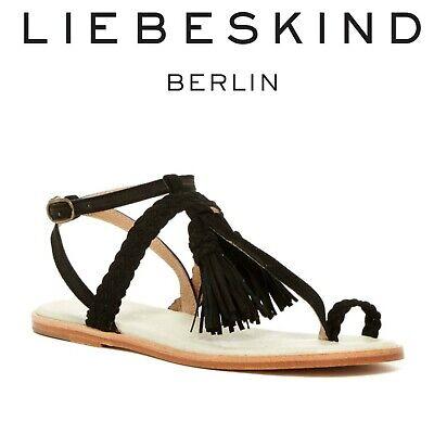 Liebeskind Berlin x Anthropologie Sz 38/8 Black Suede Tassel Toe Loop Sandals