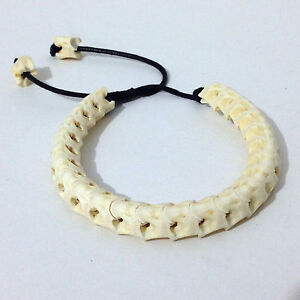 Genuine Rattle Snake Bone Skeleton White with Cotton Rope Adjust Pull Bracelet