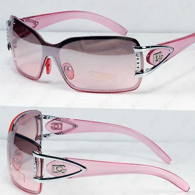 Lens Rimless Sunglasses Shades (New DG Womens Rimless Sunglasses Shades Fashion Designer Pink Shield One Lens  )