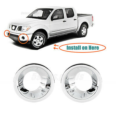 Chrome Front Fog Light Lamp Molding Covers Trims For 2005 2016 Nissan Frontier