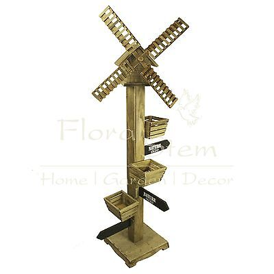 145 cm Wooden Windmill Planter with Birdhouse - Nature, Garden Decoration