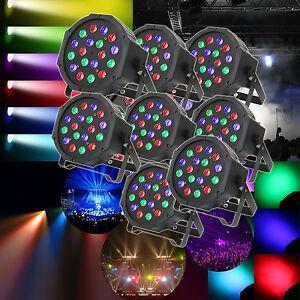 8pcs RGB 18LED Stage Light DMX Par Can DJ Disco Uplighter Lighting Effect Strobe