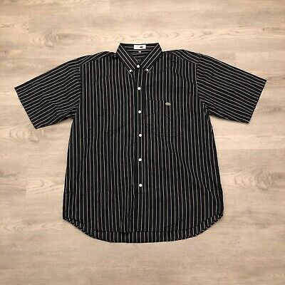 The Best Lacoste Mens Black Pinstriped S/S Button Down Shirt Cotton Size (Best Mens Button Down Shirts)
