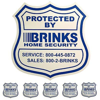 1 HOME SECURITY YARD SIGN and 5 STICKERS / DECALS FOR DOORS WINDOWS BRINKS