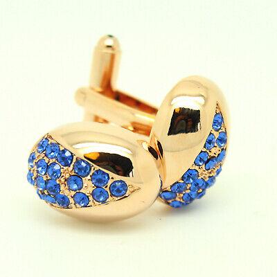 Rose Gold Oval Manschettenknöpfe und Blauer Stein Hochzeit Manschettenknöpfe