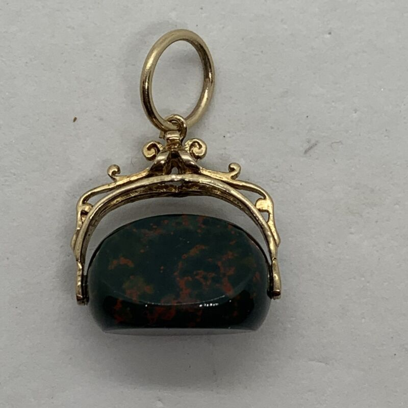 Antique Victorian 9k yellow gold bloodstone 3 triple side pendant charm fob seal