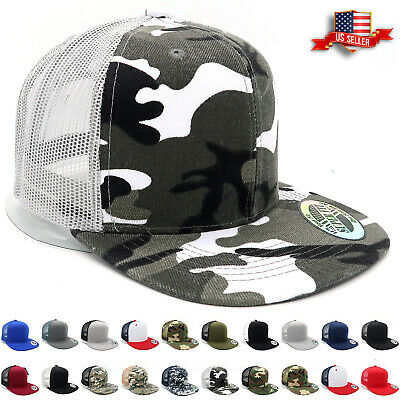 Trucker Hat Mesh Snapback Hats for Men Adjustable Size Flat Bill Baseball Cap
