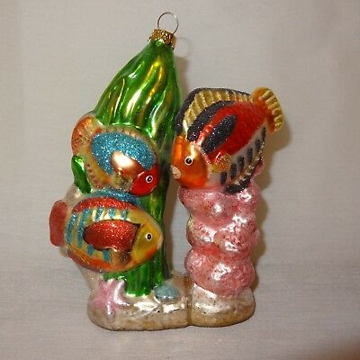 "Tropical Fish Coral Christmas Ornament 5"" Holiday Blown Glass Starfish Seaweed"