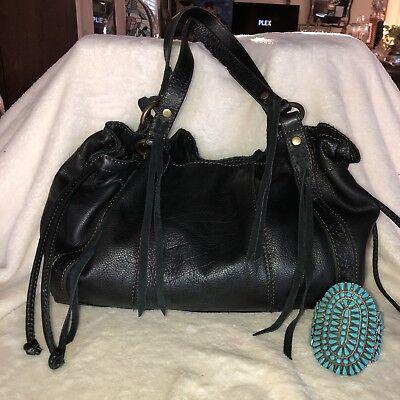 Drawstring Hobo Bag - LUCKY BRAND Black Supple Leather Drawstring Hobo Bucket Bag Tote Shoulder Purse