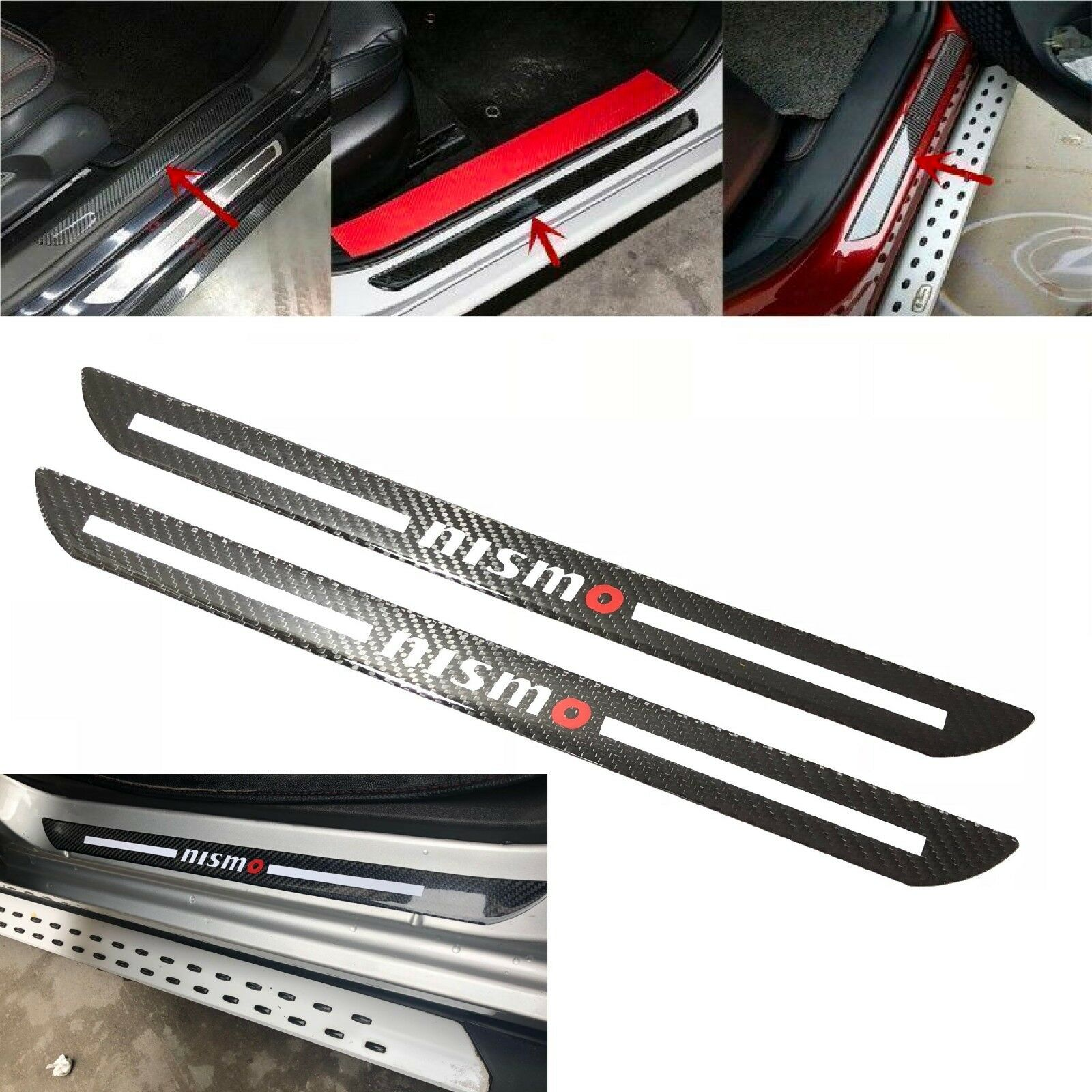 Car Parts - 2Pcs NISMO Carbon Car Door Scuff Sill Cover Plates Panel Step Protector Sticker