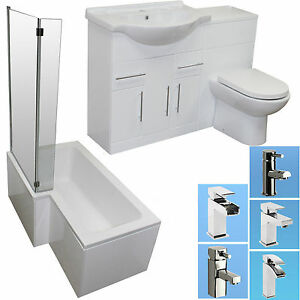 Shower bath suite l shape vanity unit basin sink toilet for L shaped bathroom vanity for sale