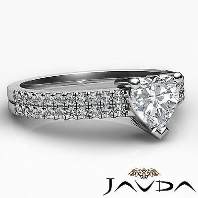 Double Prong Set Heart Natural Diamond Engagement Ring GIA Certified F VVS2 1Ct 2