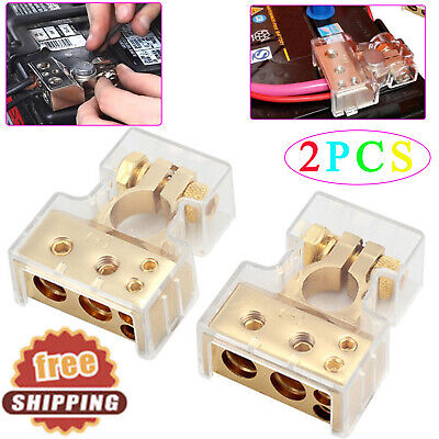 Pair 48 Gauge Awg Car Battery Terminal Connector W Cover Positive Negative Kit