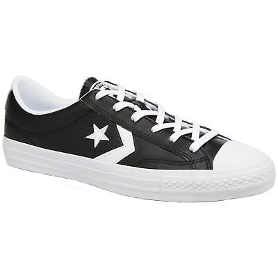 CONVERSE STAR PLAYER OX LOW TRAINERS. BLACK LEATHER & WHITE, 16 UK, 51.5 EU, NEW