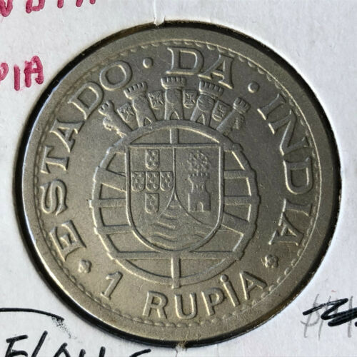 1947 Portugese India 1 Rupia Silver Coin XF/AU Condition