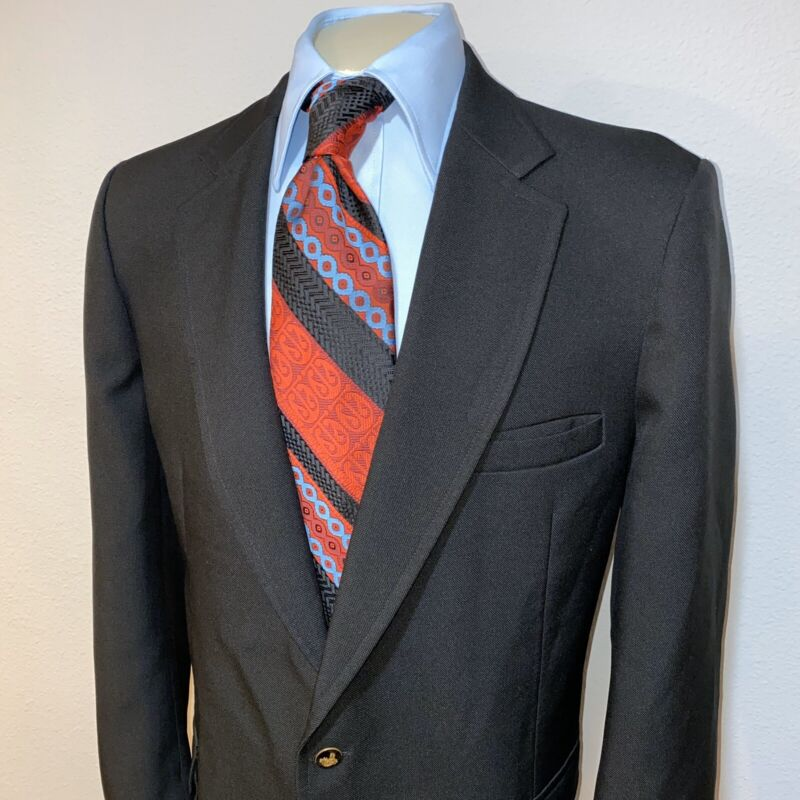 Vtg 60s 70s Black KNACK Suit Jacket Sport Coat Blazer disco Retro MENS 48 LONG