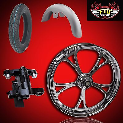 "Harley 30 inch Front End Big Wheel kit, Wheel, Tire, Neck, Fender, "" Cyclone"""