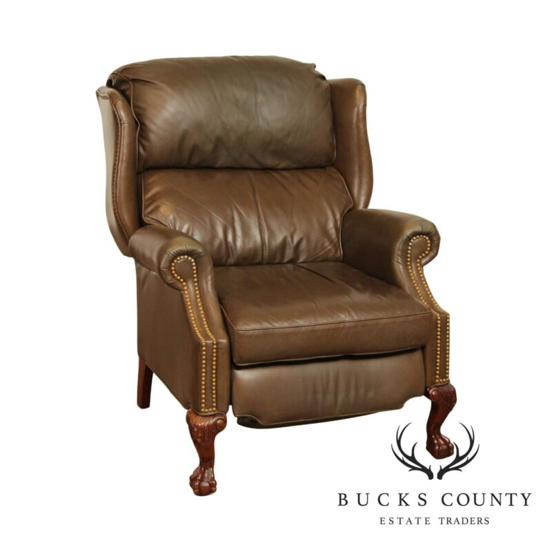 Thomasville Chippendale Style Brown Leather Mahogany Recliner Wing Chair