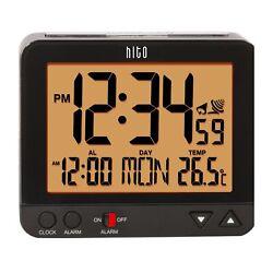 HITO 3.8 Atomic Self-setting Bedside Desk Travel Alarm Clock w/ Date, Indoor