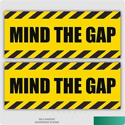 2 x Mind The Gap Warning Self Adhesive Stickers Safety Signs Business