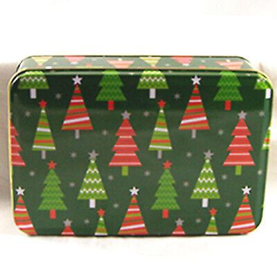 Xmas Tree Design Rectangular Tin Box Empty Container Greenbrier International
