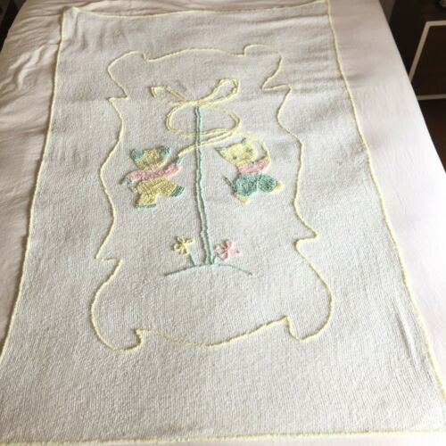 Chenille Baby Crib Blanket 63x41 Kitten Bear White Yellow Blue Pink Vintage