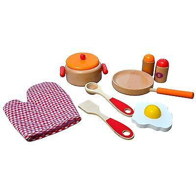 Holz Kochset für Kinder rot~orange~natur Pfanne Kochtopf Kinderküche Kaufladen
