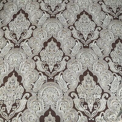 Paisley Print Fabric Shower Curtain Brown Aqua & Gold 74