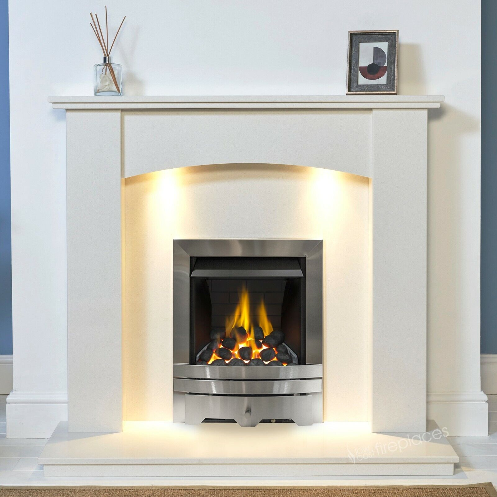 White Marble Stone Curved Surround Gas Fire Fireplace Suite Downlights Ebay