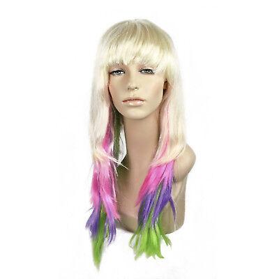 Blonde Nicki Minaj Wig (Adult Womens Long Blonde Bang Rockstar Nicki Minaj Halloween Cosplay Costume)