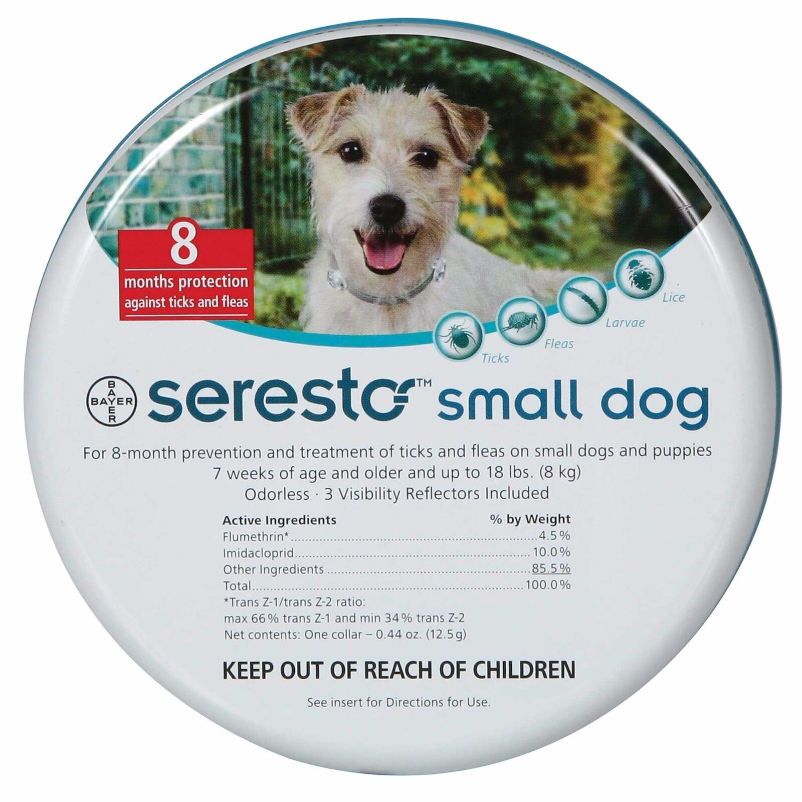 Seresto Flea & Tick 8 Months Collar for Small Dogs up to 18lbs (8kg)