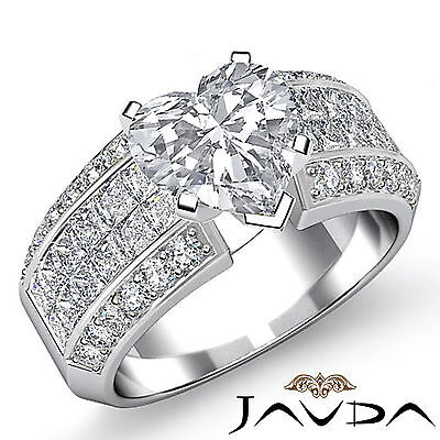 Heart Diamond Micro Pave Invisible Set Engagement Wedding Ring GIA F SI1 2.46Ct
