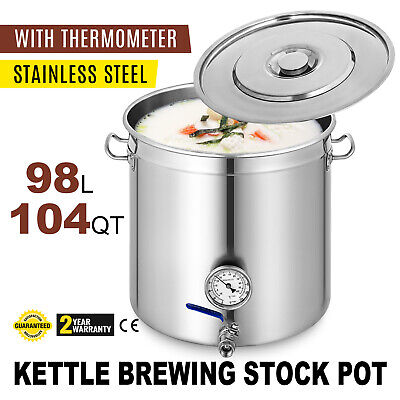 New 98L Stainless Steel Stock Pot Home Brew Kettle w/ Thermometer
