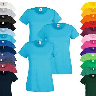 Set Kurzer Arm (3er Pack - Fruit of the Loom T-Shirt - Damen Rundhals Kurzarm - XS-2XL - Sparset)