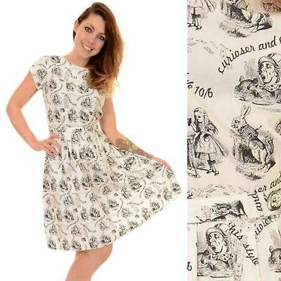 RUN AND FLY Alice in Wonderland Dress Black And White Print Vtg 8 10 12 14 16 - Alice And Wonderland Dresses