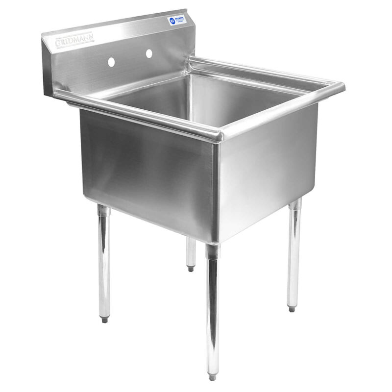 "OPEN BOX - Commercial Stainless Steel Kitchen Utility Sink - 30"" Wide"