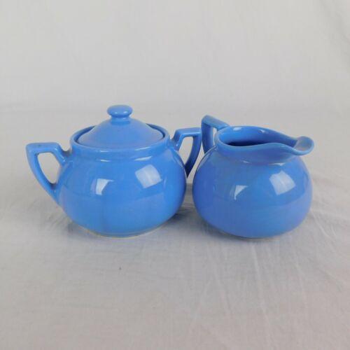 Lipton Tea Cornflower Blue Creamer & Sugar Bowl w/Lid by Hall c 1950s Vintage