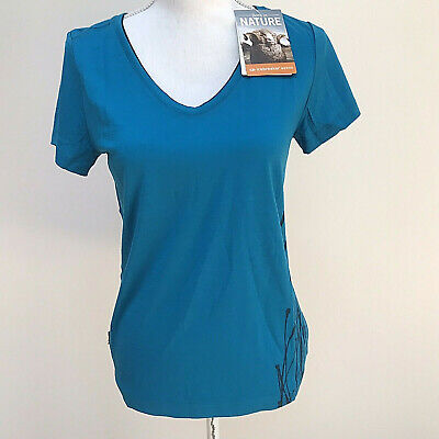 NWT Icebreaker Women's Harmony SS V neck Reed Cruise/Admiral wool top shirt S Cruise Top Shirt