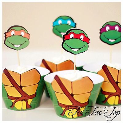 Ninja Turtle Cupcake (🐢12 Ninja Turtle Cupcake Wrapper + Topper. Party Supplies Lolly Bag TMNT)