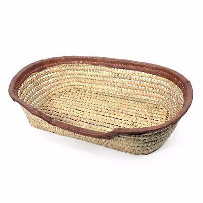 Leather Trimmed Dog Basket & Bed, Large
