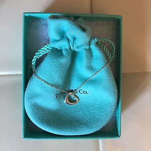 Tiffany& Co. Elsa Peretti Open Heart Pendant Necklace size 11mm