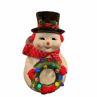 Mr. Christmas Nostalgic Snowman With Light Up Wreath Ceramic Figure Retro