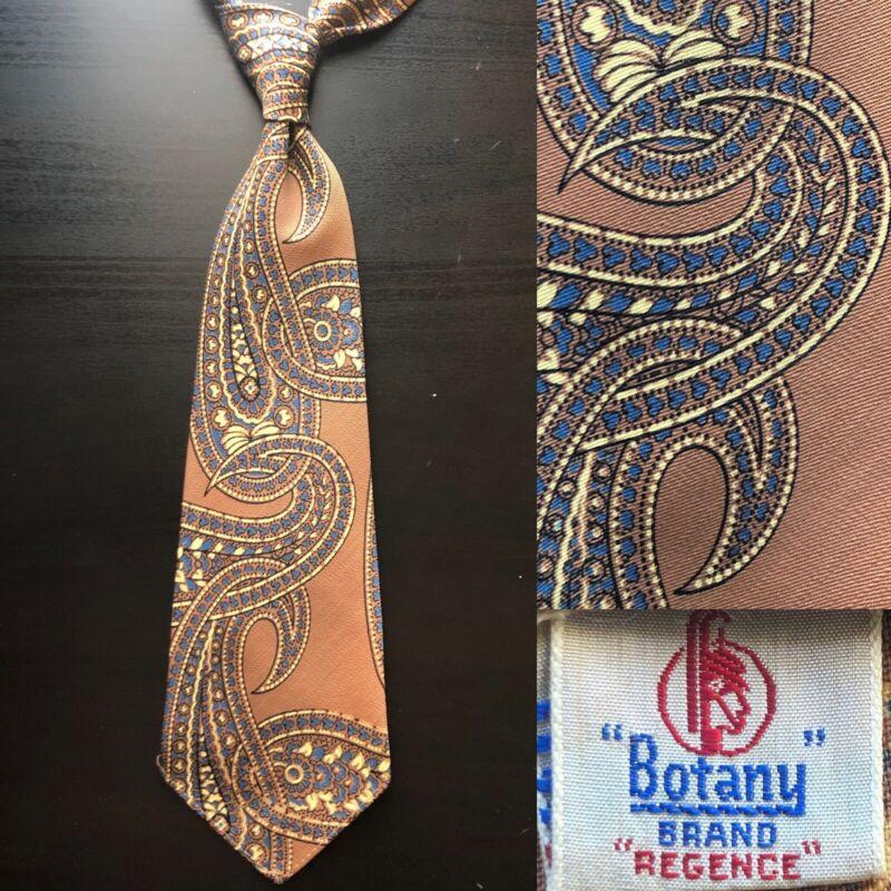 Botany 'Regence' Paisleys Peach Tan Wool Tie EUC VTG 1940s 1950s Art Deco