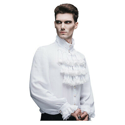 Mens Gothic Victorian Renaissance Pirate Costume Steampunk Ruffled Shirt White](Gothic Pirate Costume)